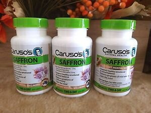 Caruso's Saffron 60 Tablets Mild Anxiety Relief Mood Balance Calm Mind 3 Pack