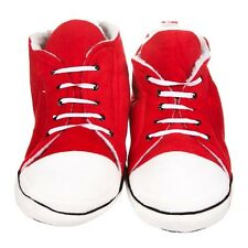 Mens Funky Retro Trainers Style Hi Top Plush Slippers - Red Unisex One Size