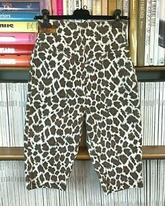 Womens 90s Vtg Leopard Print Denim Jeans Pedal Pushers Shorts High Waist 10 US 6