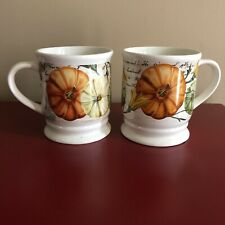 2 Mainstays Fall Coffee Cups Pumpkin Dishwasher and Microwave Safe Earthenware
