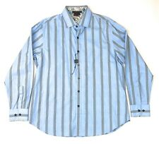 NEW Tulliano Long Sleeve Shirt Mens Large Blue Striped Flip Cuff Button Front