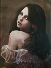 NEW WILLIAM OXER ORIGINAL CANVAS Bellissima Italian beauty woman girl PAINTING