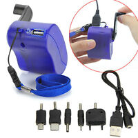Cell Phone Emergency Charger USB Crank Hand Manual Dynamo For MP4 Mobile PDA、New