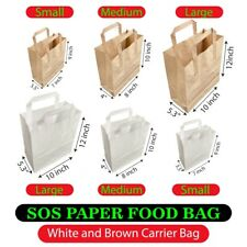 More details for paper bags brown kraft & white sos carrier bags flat handle - all sizes cheapest