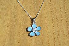 "Sterling Silver, White Topaz & Blue Enamel Flower Pendant, on Silver Chain 18"""