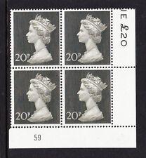 Gran Bretaña 1970 20p placa 59 en papel Bradbury estampillada sin montar o nunca montada.