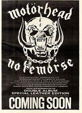 1/9/84pg17 Double Album Advert 15x10 Motorhead, No Remorse
