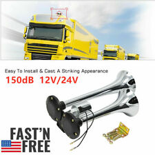150DB Electric Air Horn Loud Dual Trumpet Stainless Steel Boat Train Truck G2V9