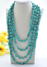 """S2354 100"""" 12mm Natural Green Baroque Turquoise Necklace"""