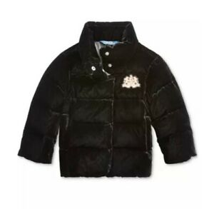 NWT 2T Polo Ralph Lauren Toddler's Girl's Quilted Velvet Down Jacket Black baby