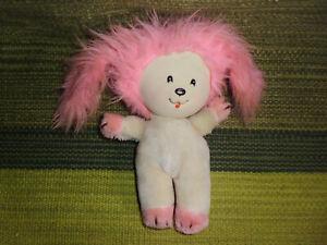 "Vintage Poochie plush toy pink white dog puppy stuffed animal 1983 8"""