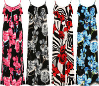 Plus Size Womens Ladies Thin Strap Strappy Floral Summer Flower Frill Maxi Dress