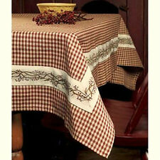 "Country Burgundy & Tan Check with BERRY VINE Border 54"" Square Cotton Tablecloth"