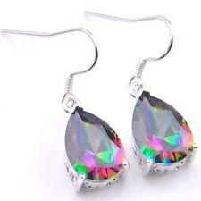 Amazing Shiny  Natural Rainbow Mystic Fire Topaz Silver Dangle Drop Earrings