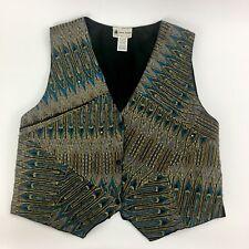 Vintage Ana Mori Vest Woman Large Boho Beaded Gold Teal Black Button Snap