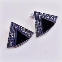 Vtg Sterling Silver Handmade Earrings, 925 Studs W/ Marcasite N Obsidian