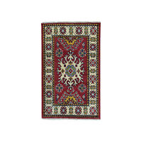 2'x3' Red Kazak Geometric Design Pure Wool Hand-Knotted Oriental Rug R50800