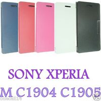 FOR SONY XPERIA M C1904 C1905 LUXURY PU LEATHER CASE COVER FLIP POUCH BACK