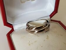 Genuine Cartier 18k White Gold Trinity Rolling Band Ring w Box