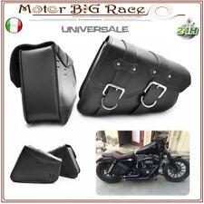 Coppia Borse Laterali per Moto Harley Davidson Bobber Chopper Cuoio Nero M213