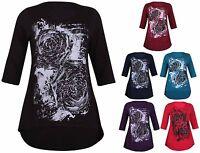 Womens New Plus Size Rose Flower Ladies Glitter Half Sleeve Fishtail T-Shirt Top