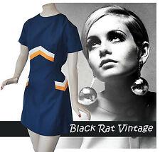 Vintage années 1960 Navy op art géométrique Carnaby St Mod Scooter Ska Mini robe UK12