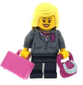 LEGO Business Woman Office Worker Minifig with Pink Case & Handbag NEW City
