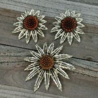 Vintage Sarah Coventry Gold Tone Sunflower Brooch or Pendant & Clip Earring Set