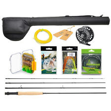 Fly Fishing Gear Rod & Reel Combo Kit Line Flies Leader Guide Fish Equipment Set