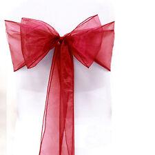 1-100 Organza Sashes Chair Cover Bows Banquet Wedding Party Wider Fuller Decor