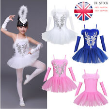 UK Girl Kid Ballet Dress Leotard Tutu Skirt Ballerina Dancewear Swan Costume Set