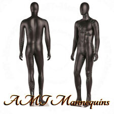 Male Full Body, Black High End Mannequins+Metal stand, Removable Egg Head, Hand