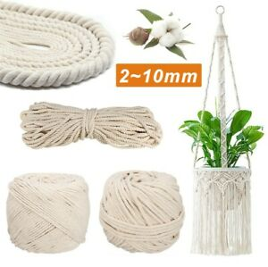 Natural Beige Cotton Macrame Rope Twisted Cord Artisan Hand Craft 2-10mm