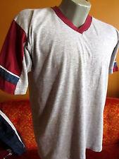 L  True Vtg 80s HEATHER GREY BURGUNDY TRIM V-Neck THIN Ringer T-shirt MENS  USA