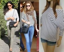 Hip Length Viscose Striped T-Shirts for Women
