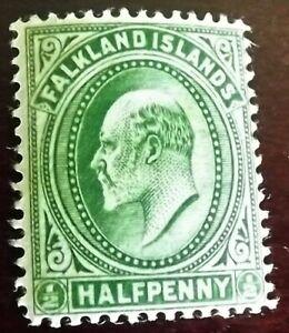 FALKLANDS ISLANDS KING EDWARD VII 1904-12 1/2d GREEN MINT HINGED S.G.43 VGC