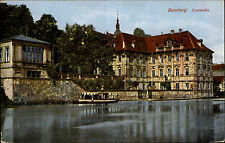 BAMBERG ~1920 alte Postkarte Kleines Schiff vor Concordia Gebäude color AK