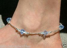 Bleu Avec Cristal Swarovski Mariage Plage Mariage Argent Sterling Cheville Neuf