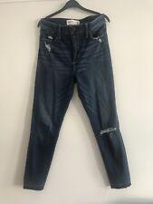 Abercrombie Fitch Dark Wash rasgada destruido & Skinny Fit Tobillo Jeans W27