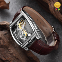 Mens Silver Bridge Manual Mechanical Watch Brown Leather DIASTERIA 1688