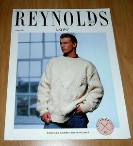 REYNOLDS LOPI Knitting Pattern # 401 Diamond and Cable Pullover Sweater Pattern