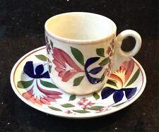 Vintage Antique Small Cup & Saucer Handpainted Floral Poss Sarreguemines France