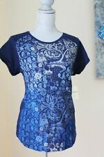 NWT Lucky Brand Wom L Floral Top Blouse TEE SHIRT  NAVY BLUE SHORT SL SUMMER