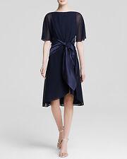 Cynthia Steffe ~ Navy Chiffon Satin Sash V-Back Caftan Dress 0 NEW $258