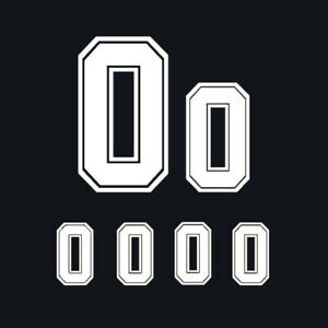 White 6pcs Set Iron-On Heatpress Vinyl Jersey Number for Sports Shirt DIY Part