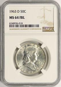 1963-D 50c Franklin Half Dollar NGC MS64FBL