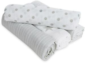 Aden + Anais ESSENTIALS SWADDLE - DUSTY - 4 PACK Baby Bedding BN