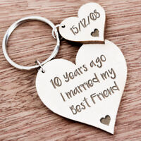 10th Ten Year Anniversary Gift for Husband Wife Personalised Keyring Present K28