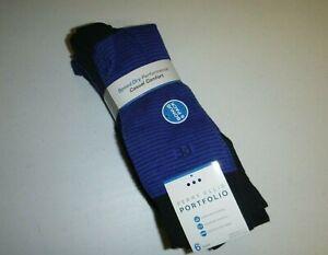 perry ellis portfolio mens 6 pair speed-dry assorted casual socks -blue,black