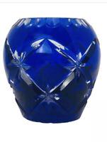 Bohemian Czech Cobalt Blue Cut to Clear Rose Bowl  Small Crystal Bowl